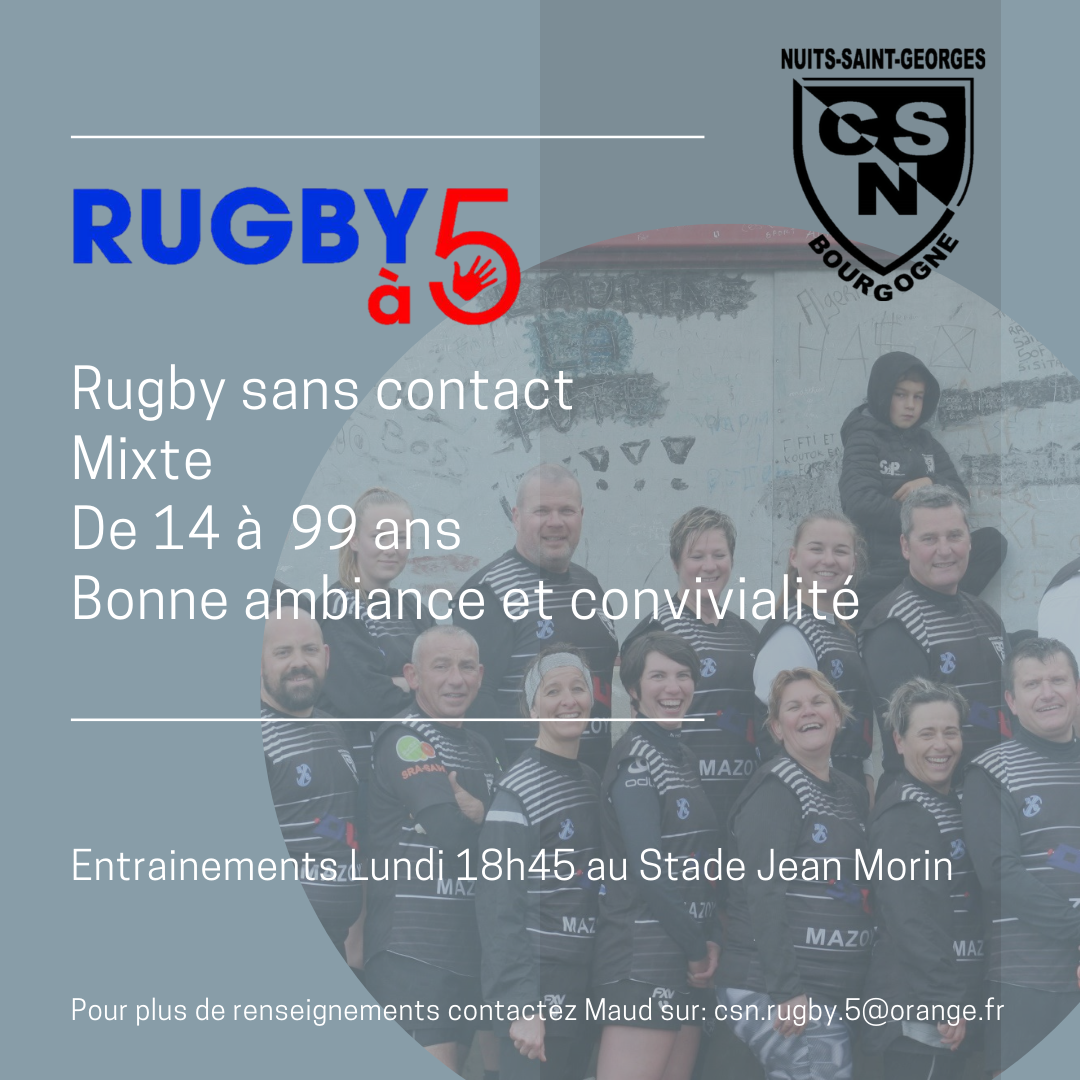 rugby 5 - horaires - contact