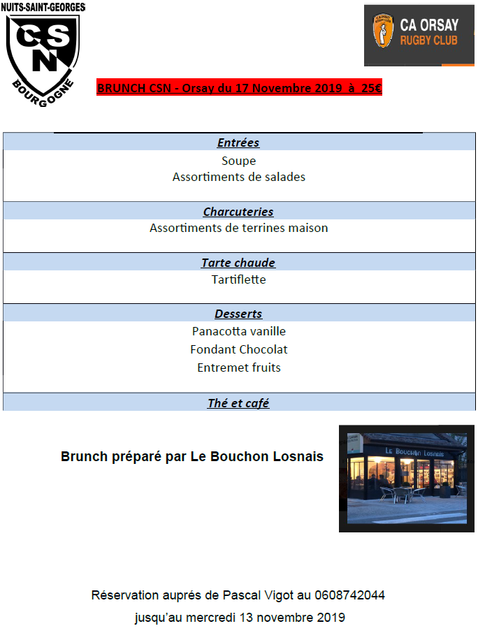 Brunch Menu CSN Orsay du 17 Novembre 2019